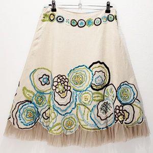 Anthropologie Beaded Linen Skirt Basil & Maude S 2